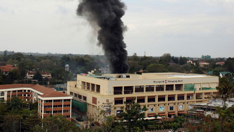 Het Westgate winkelcentrum waar afgelopen dagen tientallen doden vielen. Beeld AP