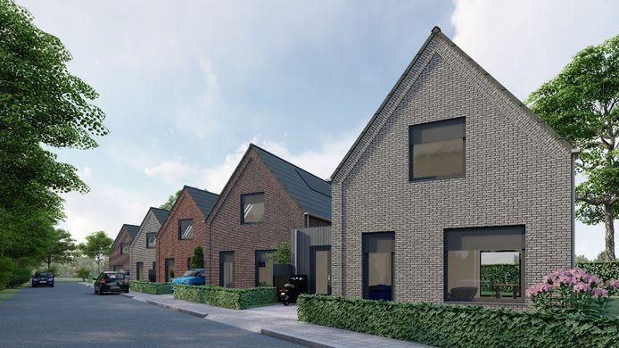 Een artist impression van de vijf levensloopbestendige woningen in de nieuwe wijk Salland ll in Raalte.