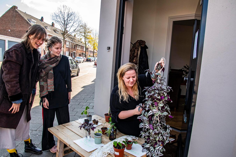 Stekjes ruilen, zoals hier bij het kraampje bij Veestraat 86, bij Maartje Matheeuwsen.
