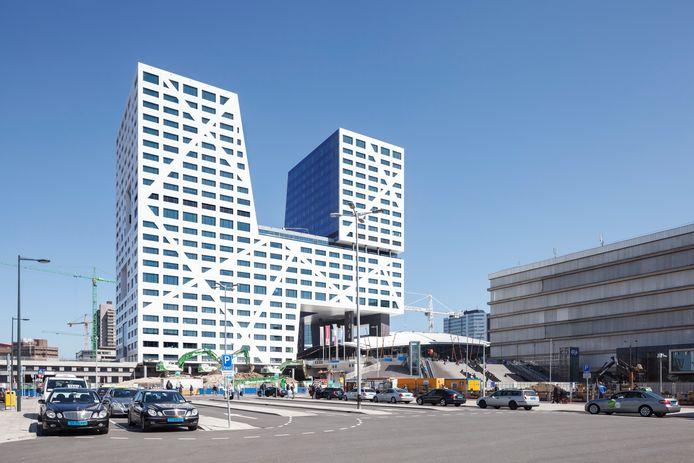 Het stadskantoor in Utrecht van architectenbureau Kraaijvanger, gezien vanaf het Jaarbeursplein.
