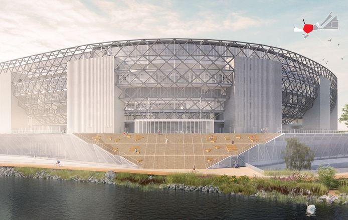 Het geplande stadion aan de Nieuwe Maas.