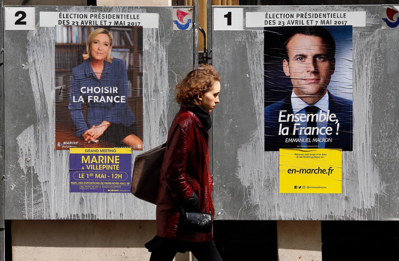 Als de Fransen nu moesten kiezen, zou 52 procent op Macron stemmen en 48 procent op de rechtspopulistische Marine Le Pen. Beeld Getty Images