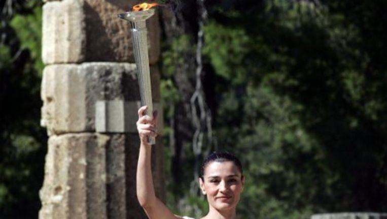 In het Griekse Olympia is donderdag de Olympische fakkel ontstoken. Foto ANP Beeld