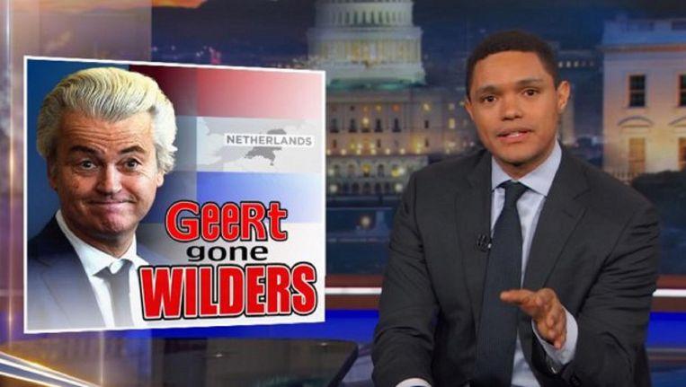 Presentator Trevor Noah maakte flink wat grappen over Geert Wilders in The daily Show. Beeld Still uit The Daily Show