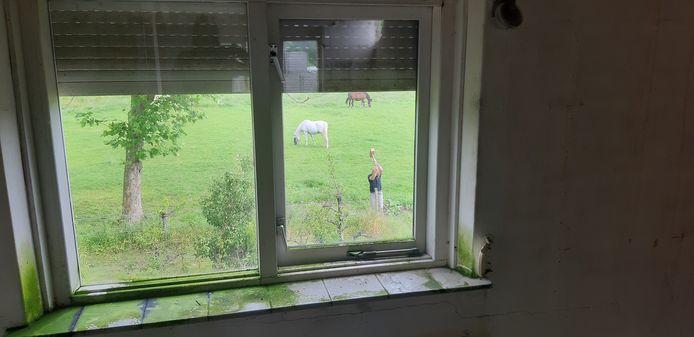Het oude woonhuis gaat steeds verder achteruit. In het veld slaat een werknemer van Hanse Staalbouw een piketpaaltje.