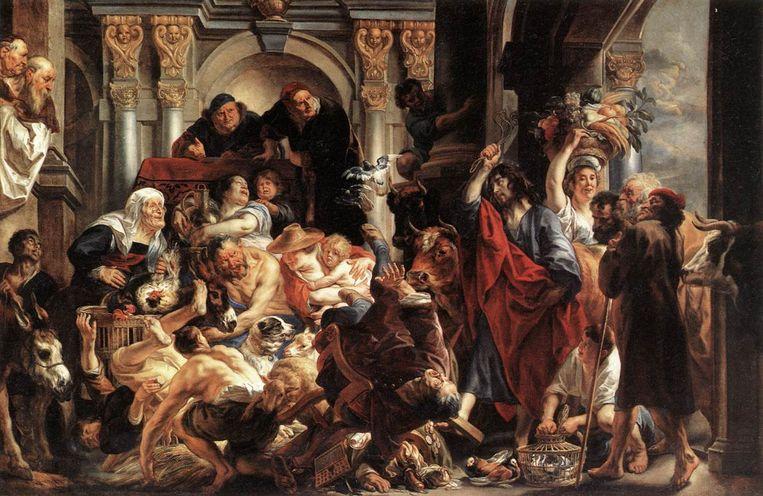 Jezus verdrijft de handelaren uit de tempel, een schilderij van Jacob Jordaens. Beeld Wikimedia