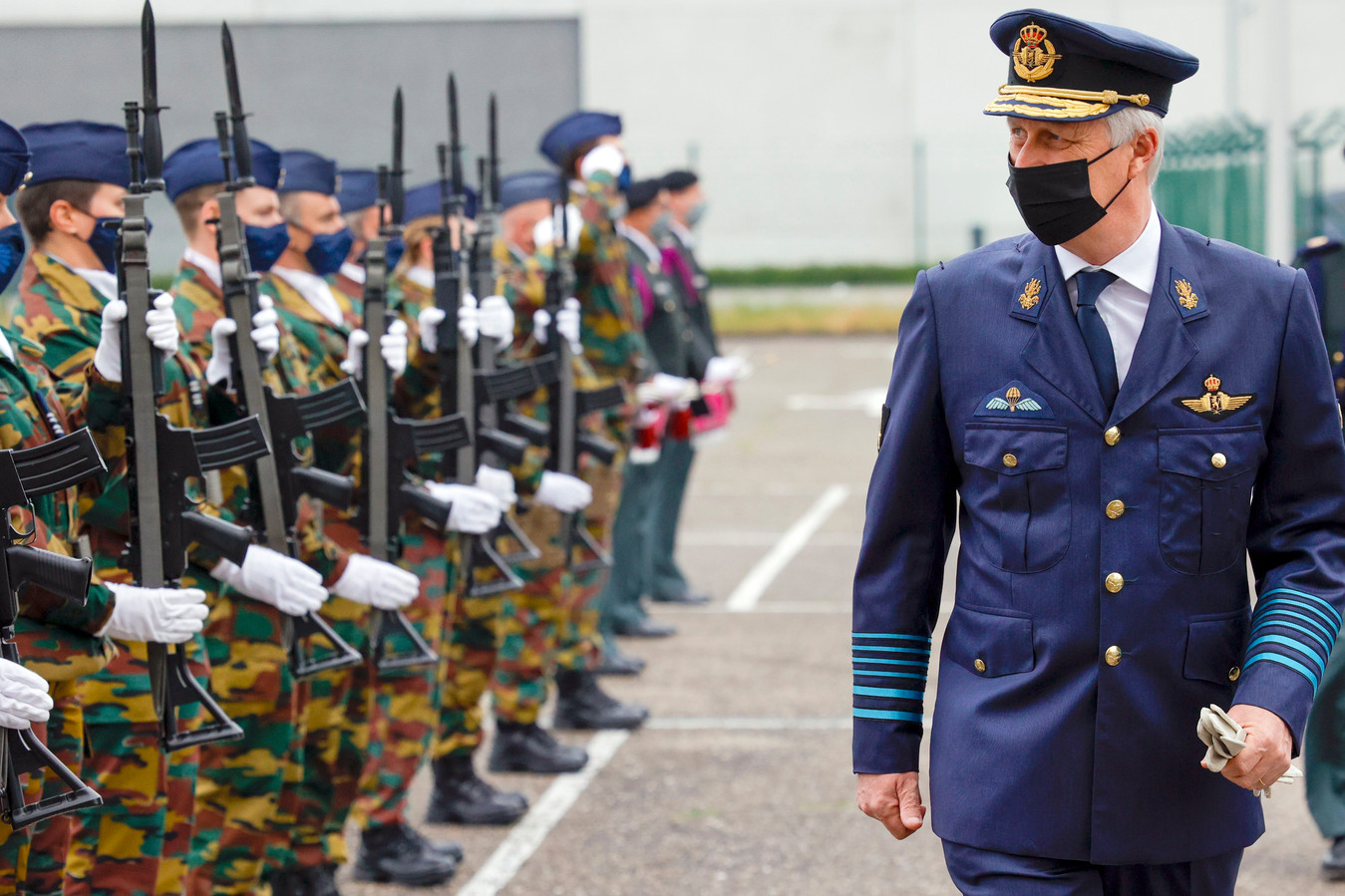Koning Filip op de militaire luchthaven in Melsbroek.
