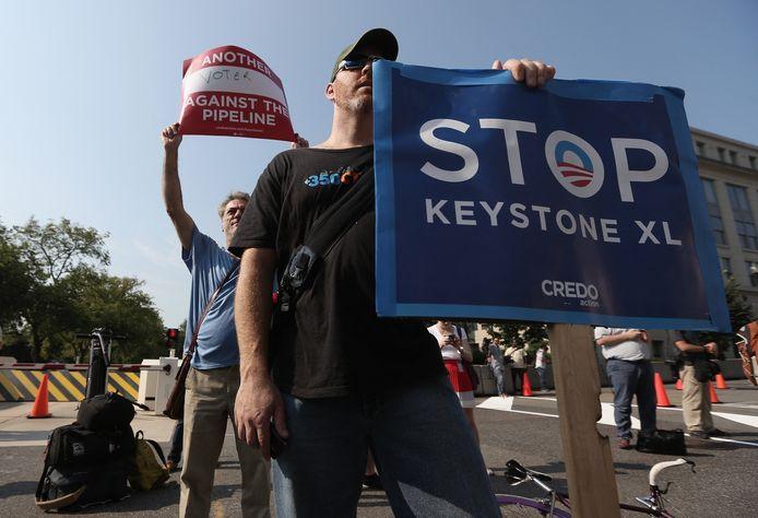 Mensen protesteren in Washington D.C. tegen de aanleg van de pijplijn. Archiefbeeld.