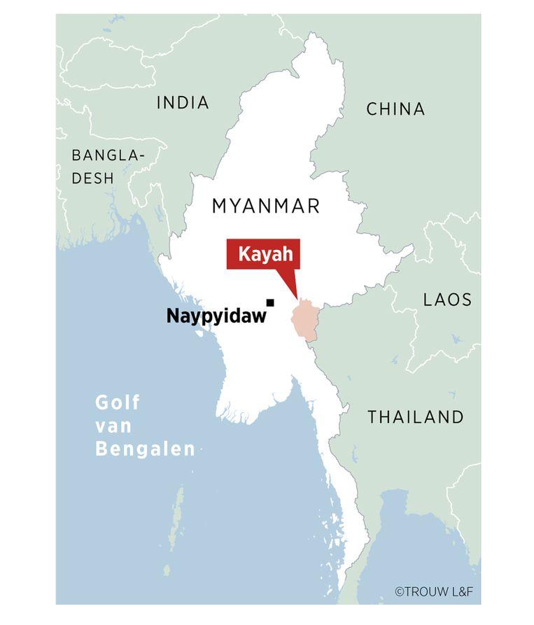 Het Zuidoost-Aziatische land Myanmar, het vroegere Burma. De belangrijkste rebellenbeweging in de deelstaat Kayah, KNDF, besloot dinsdag om tijdelijk de aanvallen op het Myanmarese leger te staken. De militie zegt dat de prijs van de gevechten voor de burgerbevolking te hoog wordt. Beeld Louman & Friso