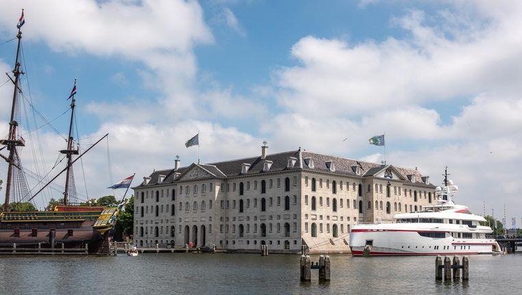Het jacht Forever One ligt voor het Scheepvaartmuseum Beeld Rowin Ubink