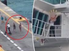 Koppel net te laat, cruiseschip vertrekt en zwaait het uit met een 'mega-bye'