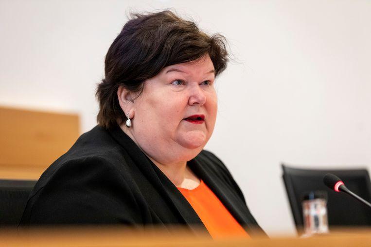 Oud-minister van Volksgezondheid Maggie De Block (Open Vld) in de coronacommissie. Beeld BELGA