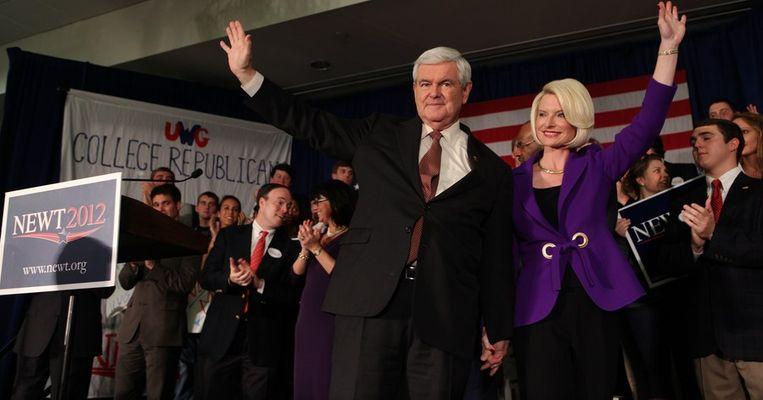 Newt Gingrich spreekt tijdens een campagne aan de Universiteit van West-Georgië in Carrollton, Georgië. Beeld afp