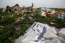Brokstukken van het vliegtuig van vlucht MH17