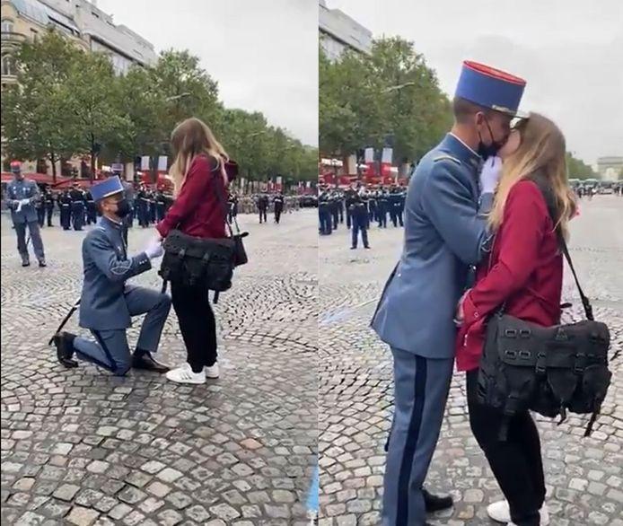 Le soldat a demandé sa compagne en mariage juste avant de rejoindre son régiment pour le traditionnel défilé.