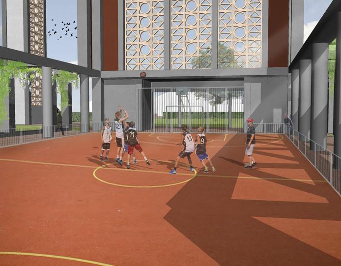 Waar vroeger de kerkbankjes stonden, wordt straks gesport, bijvoorbeeld basketbal.