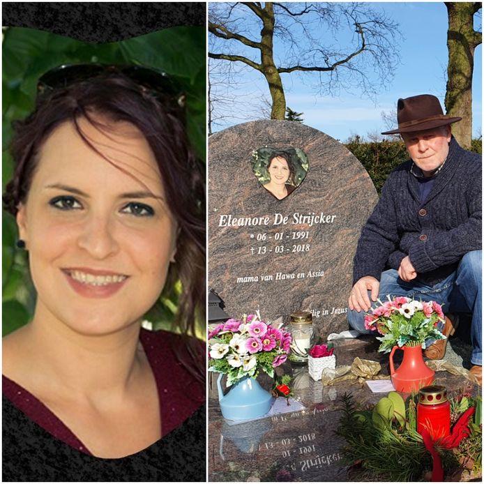 Eleanore De Strijcker en vader Wilfried bij het graf van zijn dochter.
