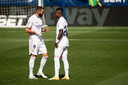 Benzema en Vinicius eerder dit seizoen op het veld van Levante.