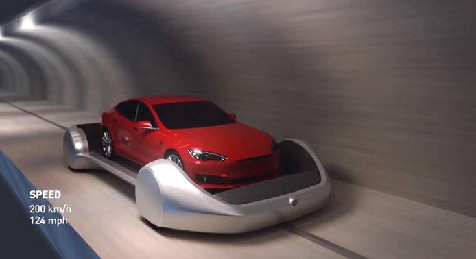 Zo moet het verkeersprobleem in LA worden opgelost, met een netwerk van kleine tunnels en auto's op elektrisch aangedreven platformen.