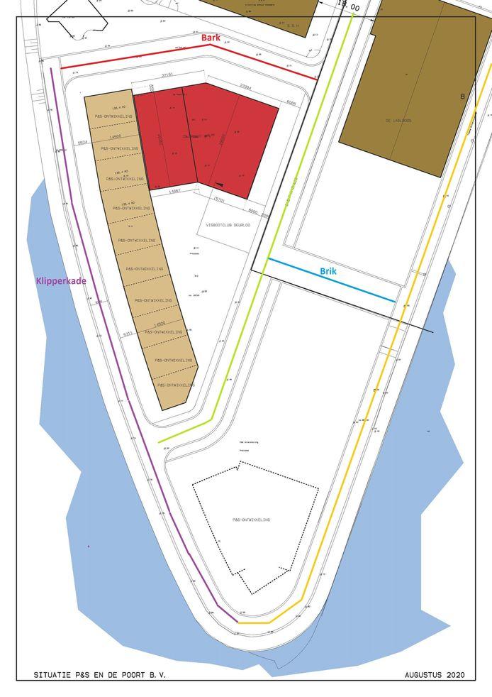 De nieuwe straten op de Westelijke landtong van de binnenhaven.