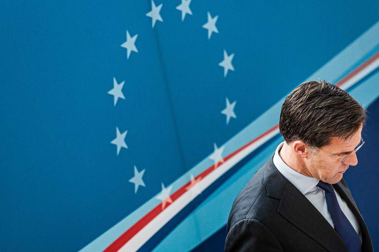 Minister-president Mark Rutte voor aanvang van de Europese top.  Beeld ANP