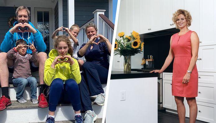 Clijsters links met haar gezin, rechts in haar keuken in New Jersey.