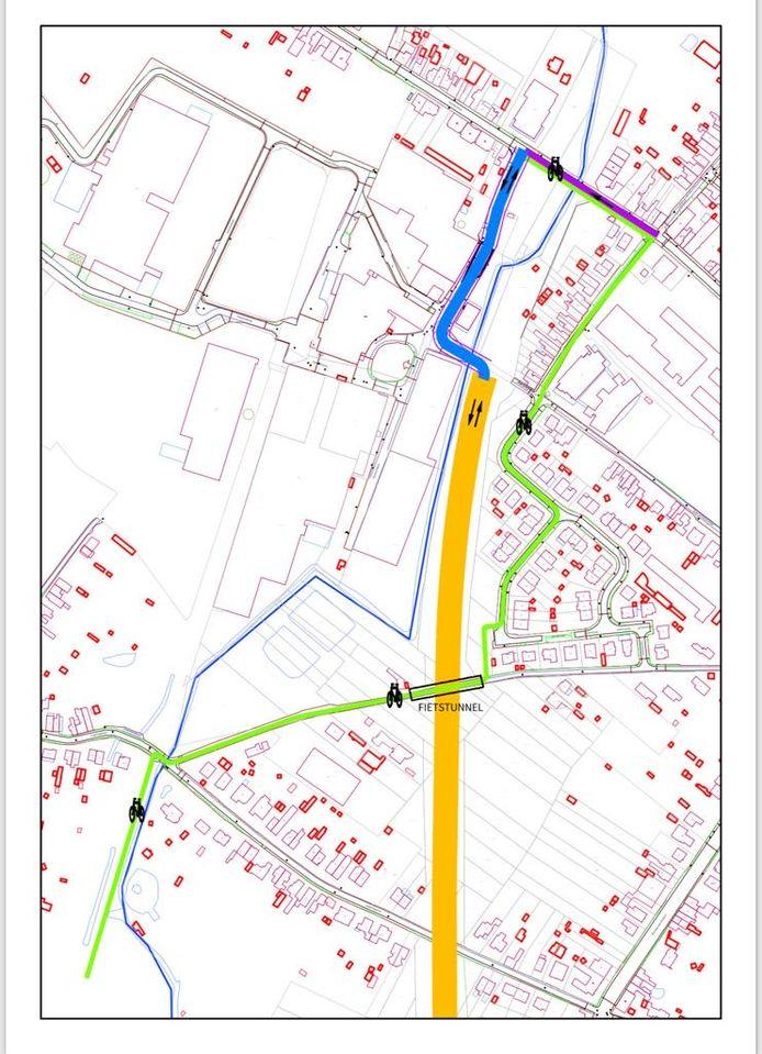 De nieuwe weg (geel traject) tussen N41 en industrieterrein in Gijzegem.