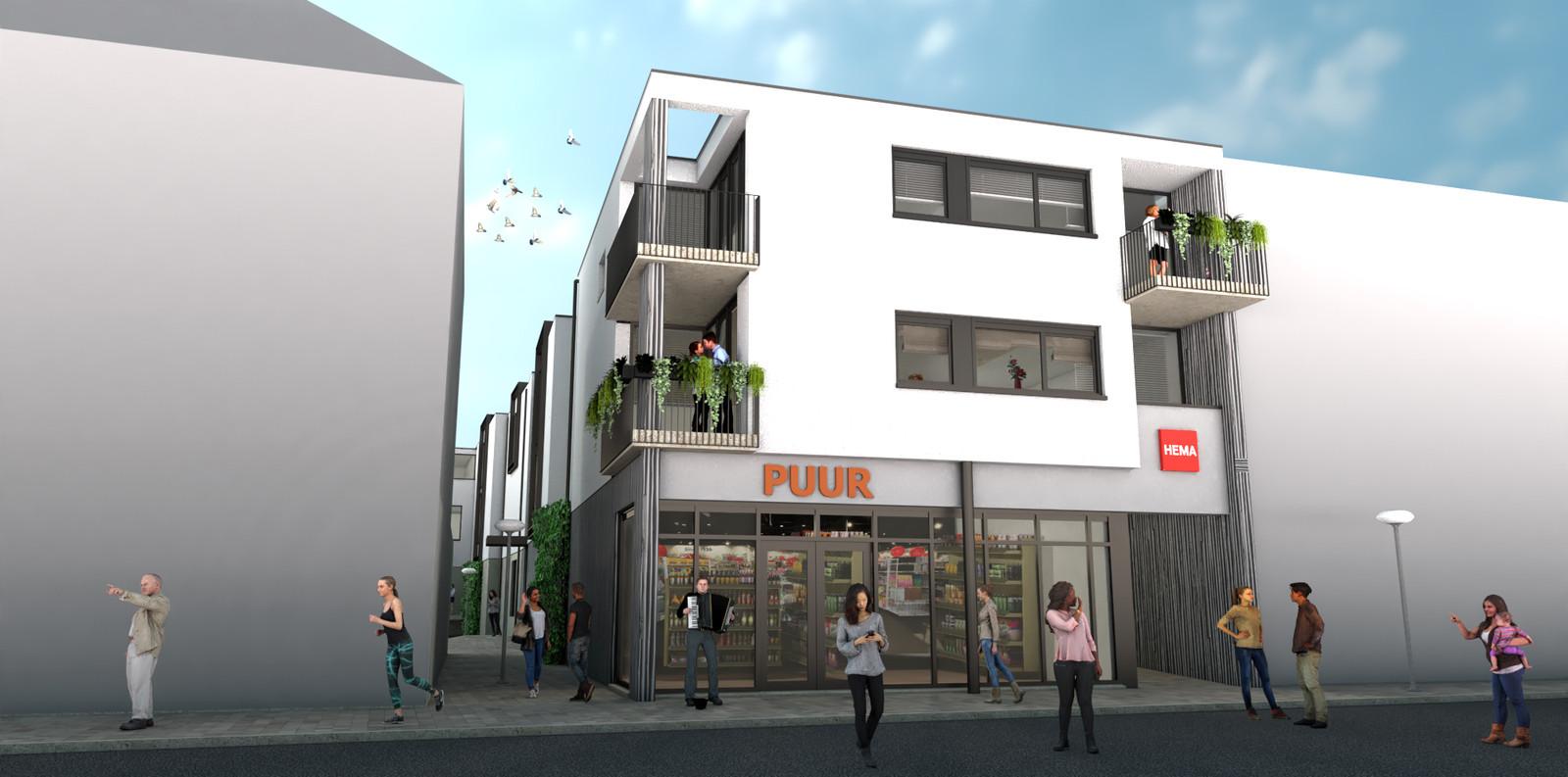 Een artist impression van het appartementengebouw boven de HEMA, gezien vanaf de Touwslagersbaan.