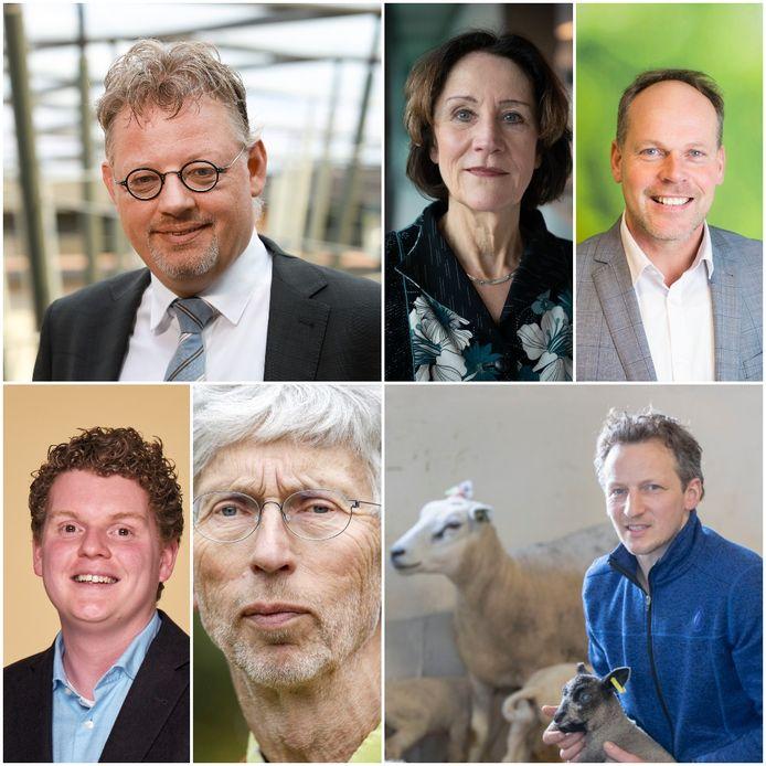 Met de klok mee: Peter Drenth (gedeputeerde Gelderland), Louise Vet (hoogleraar WUR), Maarten Bakhuis (bestuurder bij LTO en melkveehouder), Bart Kemp (boerenactieleider), Johan Vollenbroek (voorzitter milieuorganisatie MOB), Antoon Kanis (D66-Statenlid).