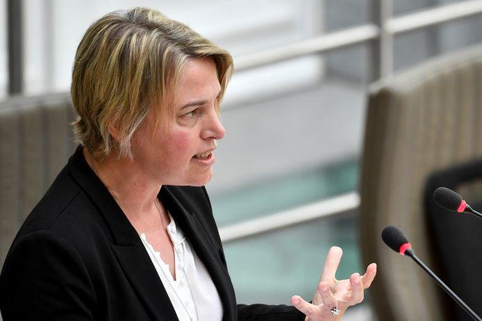 Joke Schauvliege in de plenaire vergadering in het Vlaams Parlement vanmiddag
