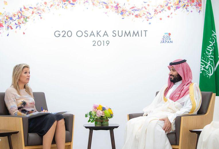 Het gesprek tussen koningin Máxima en kroonprins Mohammed Bin Salman. De foto is verspreid door de Saoedische autoriteiten. Beeld CIC Saudi Arabia, Twitter