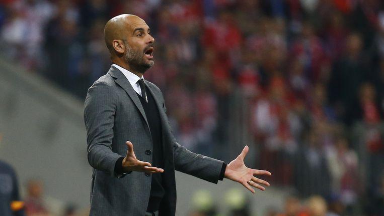 Coach van Bayern Munchen, Josep Guardiola in de match van gisteren in de kwartfinale van de UEFA Champions League. Beeld REUTERS