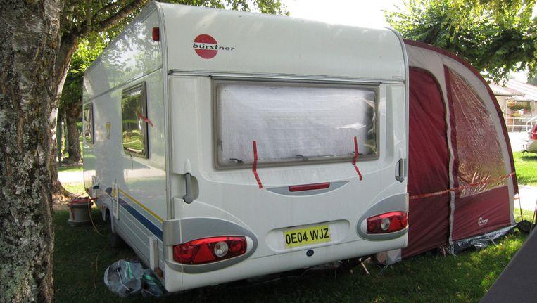 De caravan waarmee het gezin op vakantie was in de Franse Alpen. Beeld ap