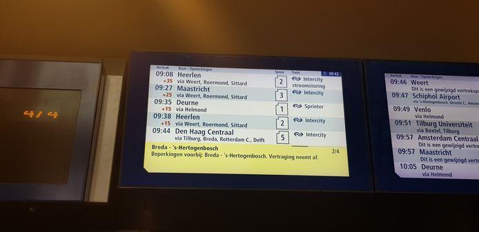 Veel vertraging op het spoor, ook in Eindhoven.