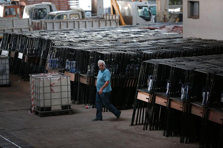In Athene wordt alles in gereedheid gebracht voor de verkiezingen zondag. Beeld AP