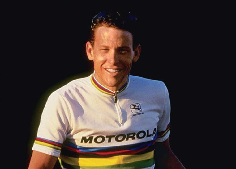 Armstrong tijdens zijn wereldkampioenschap in 1993. Beeld Henk Brands