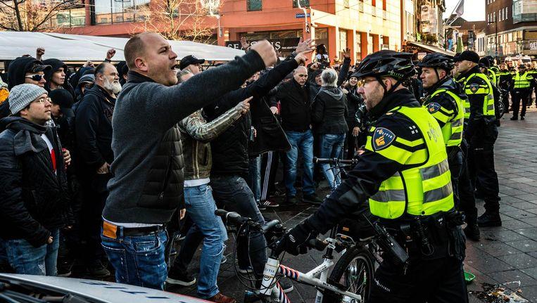 Leden van de harde kern van PSV bij de actie van Kick Out Zwarte Piet in Eindhoven. Beeld anp
