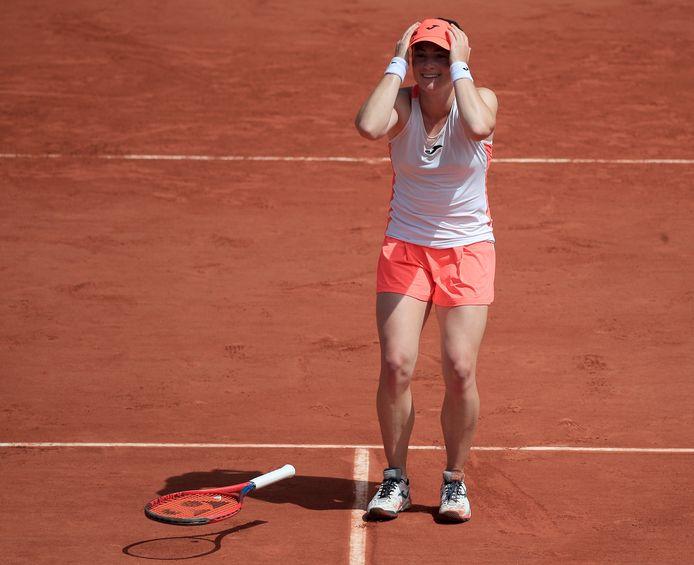 Ongeloof bij Tamara Zidansek na het bereiken van de kwartfinales op Roland Garros.