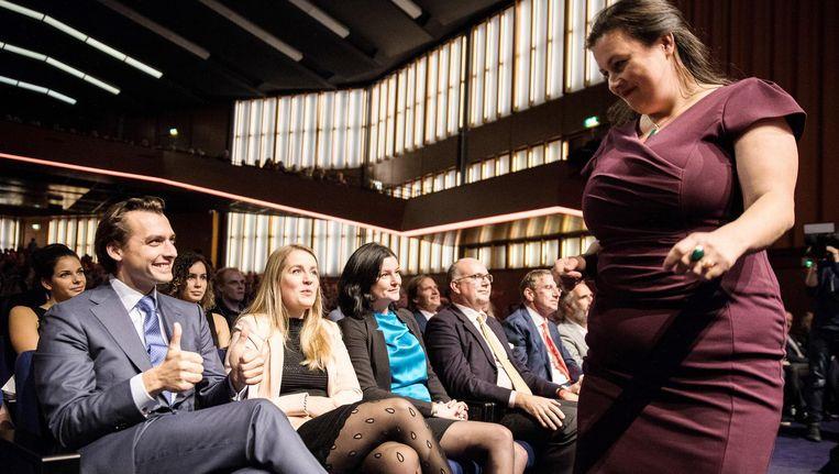 Forum voor Democratie-leider Annabel Nanninga en landelijk partijleider Thierry Baudet vorige week op het partijcongres in de RAI. Beeld anp