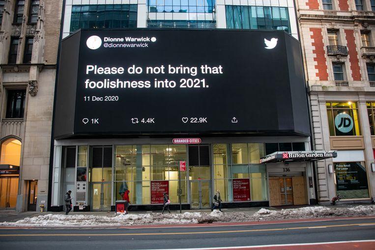 Een tweet van zangeres Dionne Warwick, afgelopen december. New York.  Beeld Getty Images