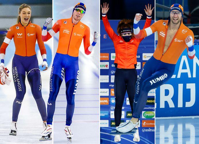 De winnaars in Thialf, v.l.n.r.: Jutta Leerdam (EK Sprint), Patrick Roest (EK Allround), Antoinette de Jong (EK Allround) en Thomas Krol (EK Sprint).