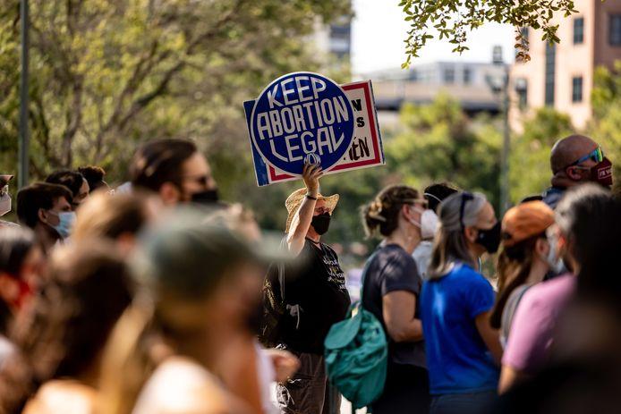 Activisten in Austin, Texas protesteren tegen de SB8 wet die zo'n 80 procent van de abortussen in de Amerikaanse staat verbiedt.
