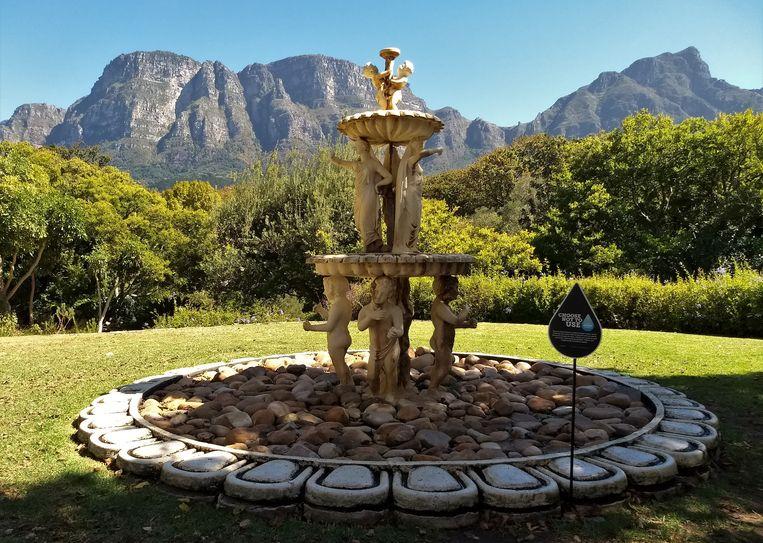 Een drooggevallen fontein in de tuin van het Vineyard Hotel in Kaapstad met op de achtergrond de achterkant van de Tafelberg. Beeld Niels Posthumus