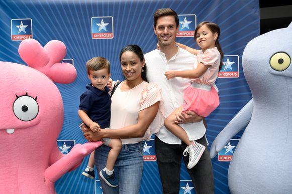 Aagje Vanwalleghem met haar man Denis en hun kinderen Nael en Noa.