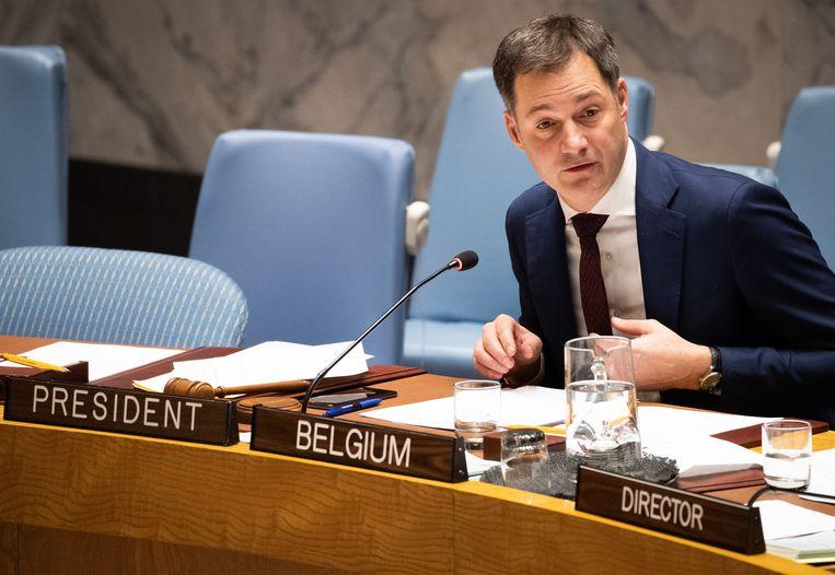 Minister De Croo zit voor ons land de vergadering van de VN-Veiligheidsraad in New York voor.  Beeld BELGA