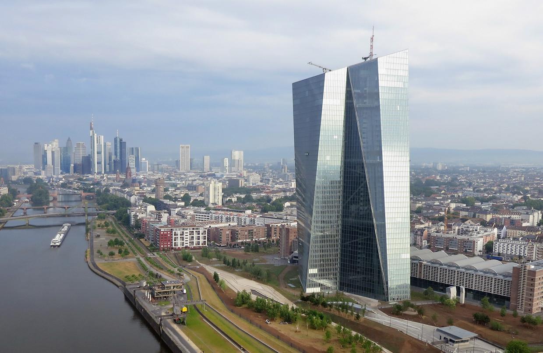 Het hoofdkantoor van de ECB in Frankfurt am Main. Beeld Getty Images