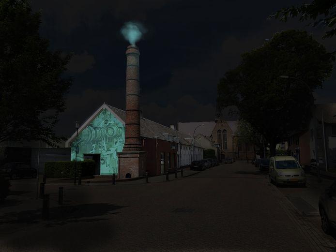 Een impressie van de verlichte voormalige Kousenfabriek aan de Kerkstraat.