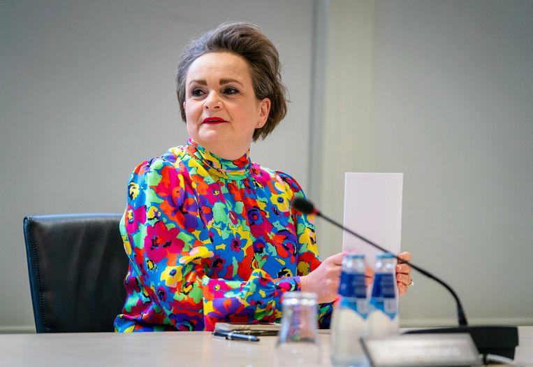 Demissionair staatssecretaris Alexandra van Huffelen (Toeslagen) in de Tweede Kamer tijdens een commissiedebat over de hersteloperatie kinderopvangtoeslagen.  Beeld ANP