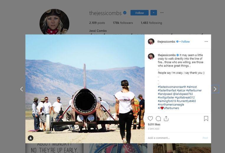 Drie dagen geleden postte de racepilote deze foto van de straalmotorwagen waarmee ze het snelheidsrecord scherper wou stellen.
