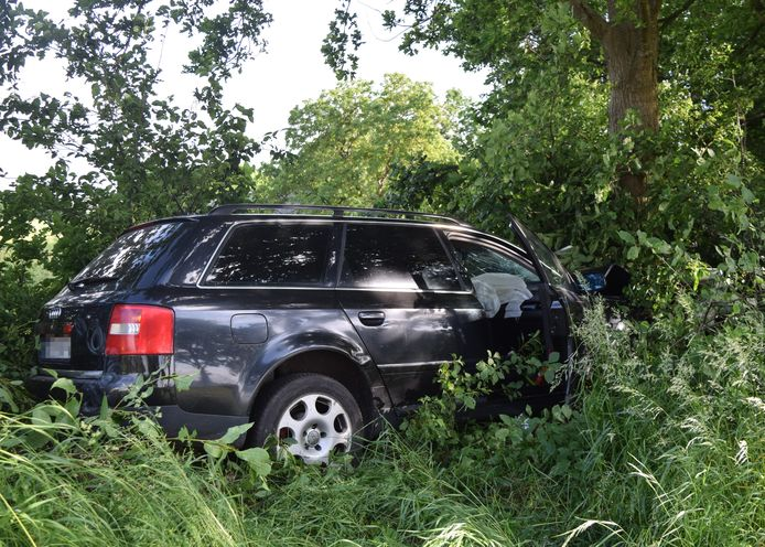 De auto is tegen een boom tot stilstand gekomen aan de Doetinchemseweg in Wijnbergen.